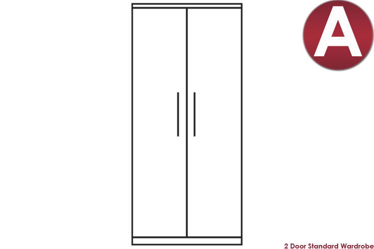 white 2 Door Standard Wardrobe