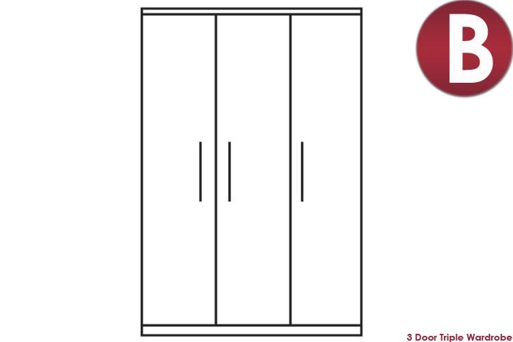 white 3 Door Triple Wardrobe