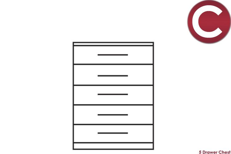 white 5 Drawer Chest