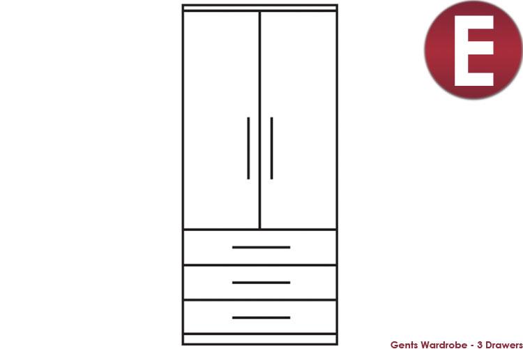 white Gents Wardrobe - 3 Drawers
