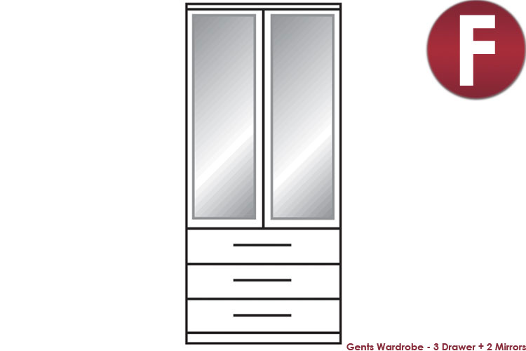 white Gents Wardrobe - 3 Drawers + 1 Mirror