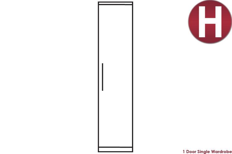 white 1 Door Single Wardrobe