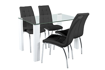 savona table + 4 chairs black