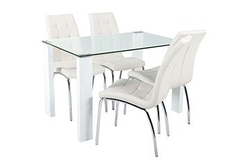 savona table+4 chairs white