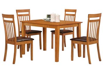 shaker table+4 chairs brown
