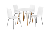 swan round table + 4 chairs